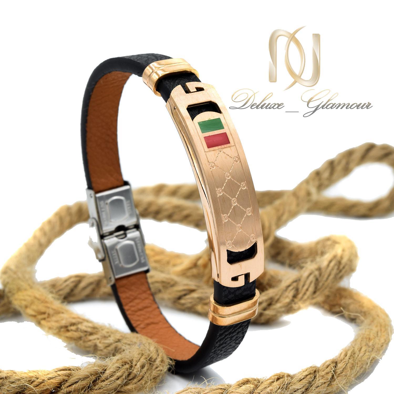 دستبند چرم پسرانه طرح گوچی تک ردیفه ds-n465 از نمای روبرو