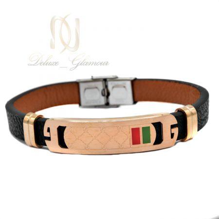 دستبند چرم پسرانه طرح گوچی تک ردیفه ds-n465 از نمای سفید