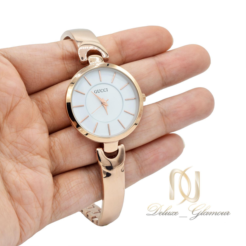 ساعت مچی زنانه رزگلد هایکپی گوچی wh-n145 از نمای روی دست