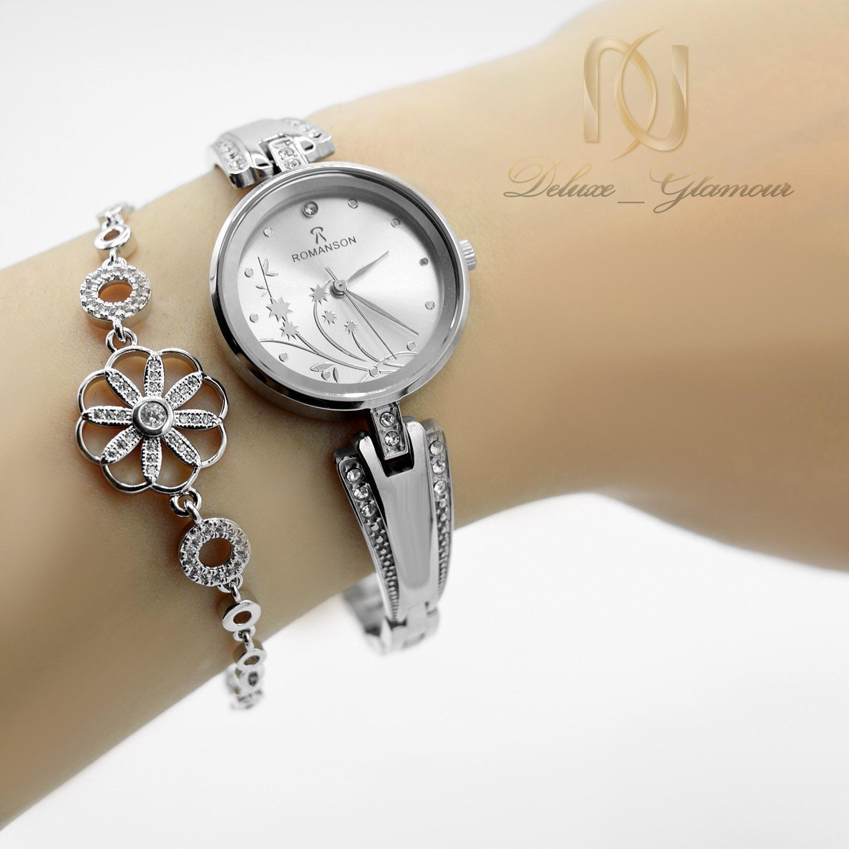 ساعت مچی زنانه رومانسون استیل wh-n144 از نمای روی دست