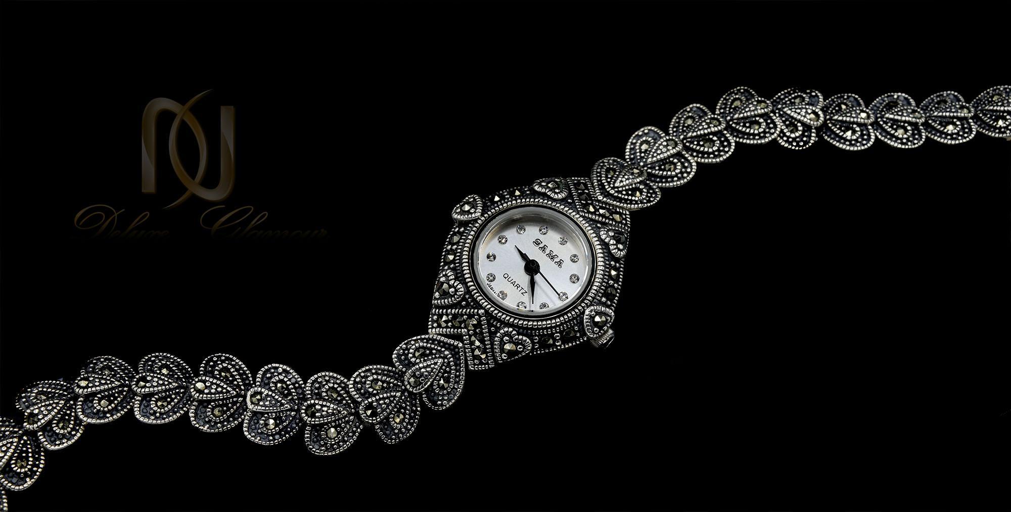 ساعت نقره زنانه طرح سیاه قلم سما wh-n141 از نمای مشکی