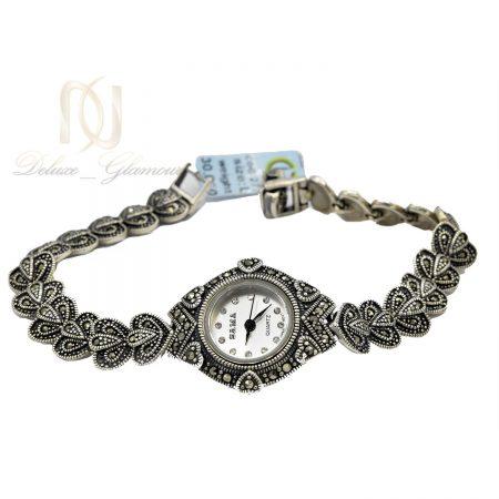 ساعت نقره زنانه طرح سیاه قلم سما wh-n141 از نمای سفید