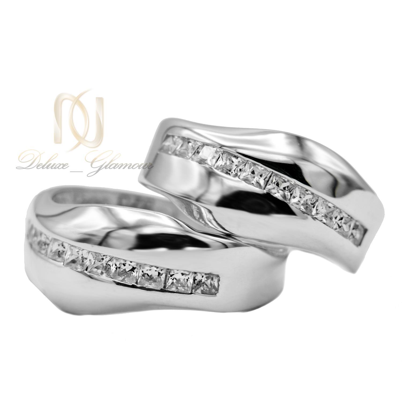 ست حلقه نقره نامزدی طرح طلا سفید rg-n347 از نمای روبرو