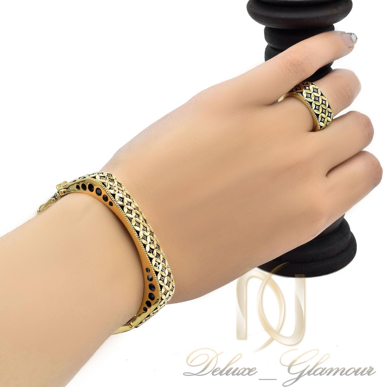 ست دستبند و انگشتر زنانه نقره سیاه قلم ns-n472 از نمای روی دست