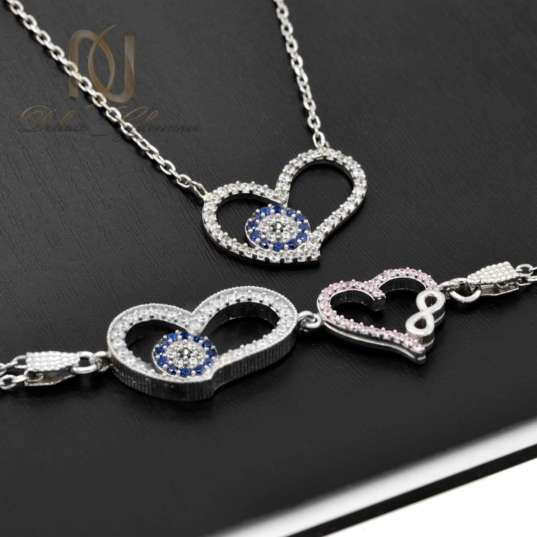 ست گردنبند و دستبند نقره دخترانه قلب NS-N474 از نمای مشکی