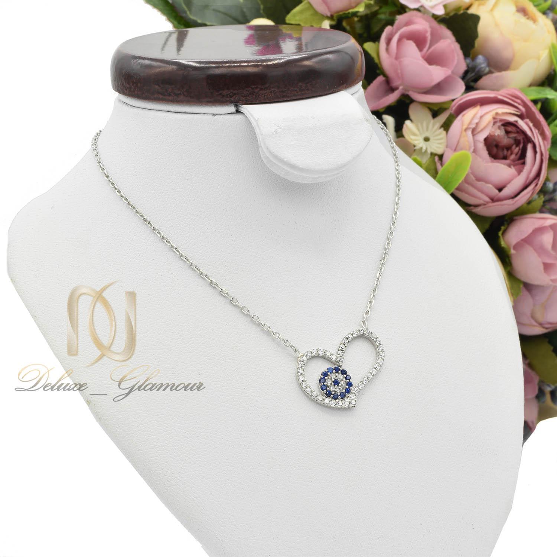 ست گردنبند و دستبند نقره دخترانه قلب NS-N474 از نمای روبرو