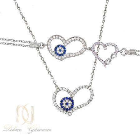 ست گردنبند و دستبند نقره دخترانه قلب NS-N474 از نمای سفید