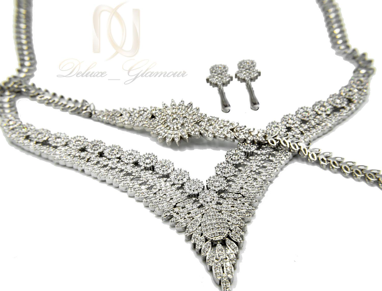 سرویس نقره زنانه جواهری پر نگین جدید ns-n471 از نمای نزدیک