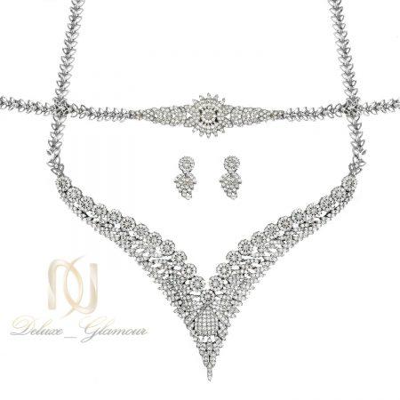 سرویس نقره زنانه جواهری پر نگین جدید ns-n471 از نمای سفید