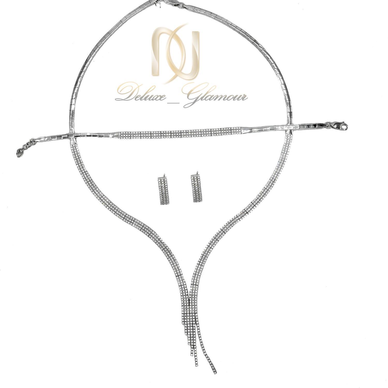 سرویس نقره زنانه طرح طلا سفید ظریف ns-n470 از نمای روبرو