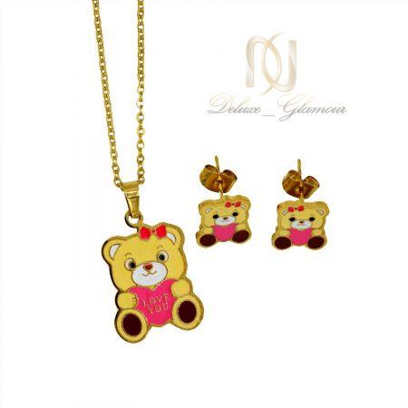 نیم ست بچگانه استیل طرح خرس طلایی ns-n455 از نمای سفید