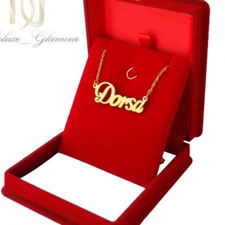 گردنبند اسم درسا استیل طلایی لاتین nw-n497 از نمای روبرو