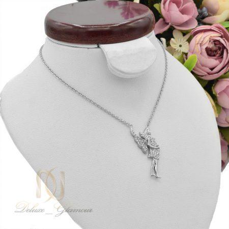 گردنبند دخترانه نقره طرح فرشته نگین دار nw-n498 از نمای روبرو