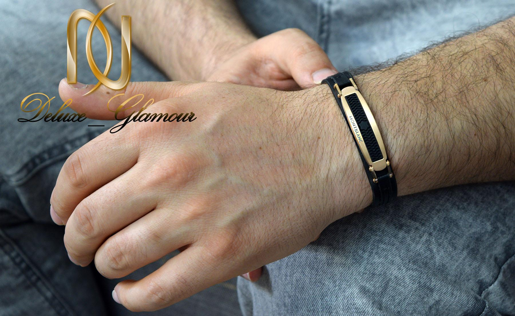 دستبند مردانه چرم تک ردیفه مونت بلانک ds-n385