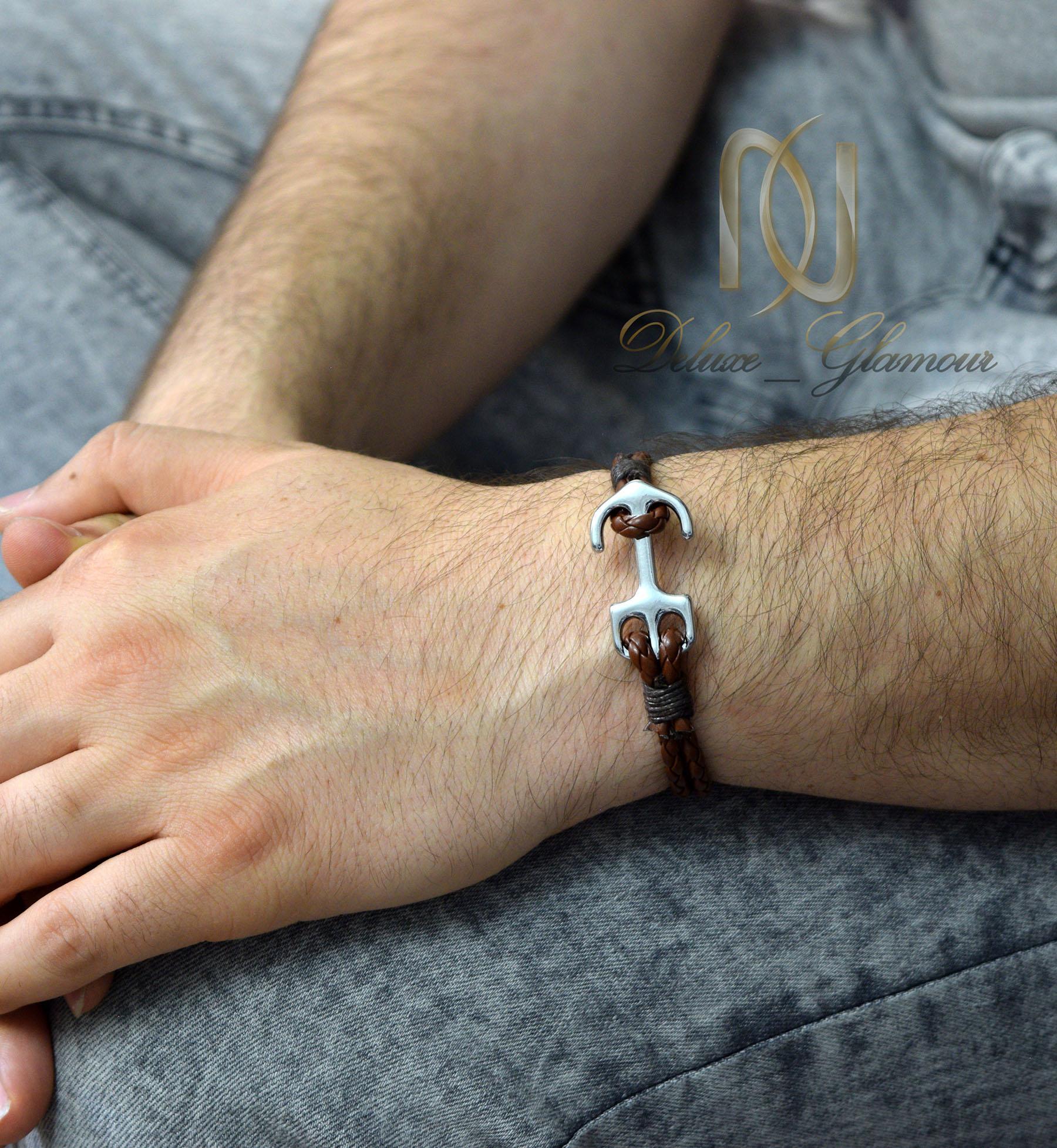 دستبند چرمی اسپرت قهوه ای طرح لنگر ds-n441