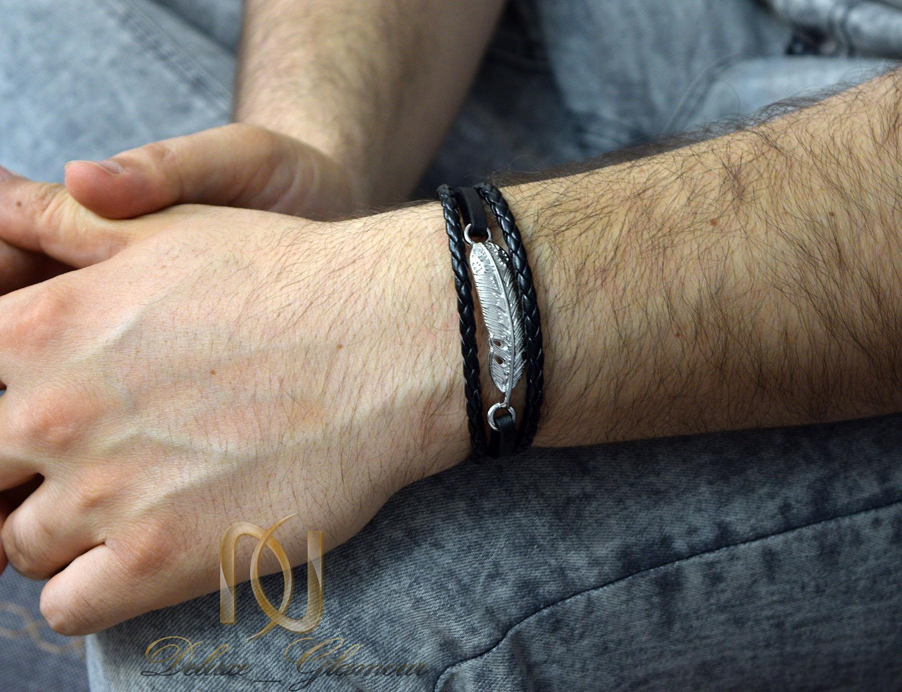 دستبند مردانه چرم اسپرت شیک طرح برگ ds-n457
