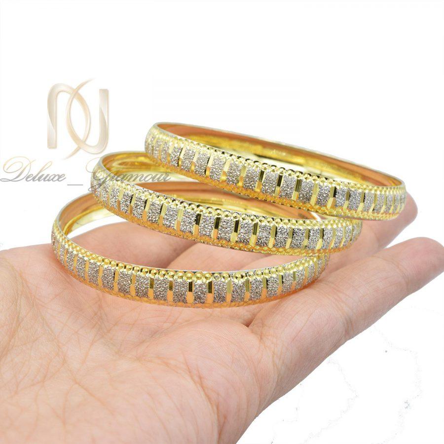 النگو زنانه نقره دو رنگ طرح طلا al-n127 از نمای روبرو