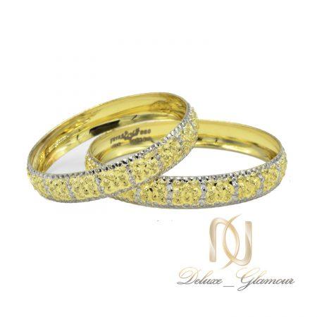 النگو نقره بچگانه طرح طلای تراش دو رنگ al-n119 از نمای سفید