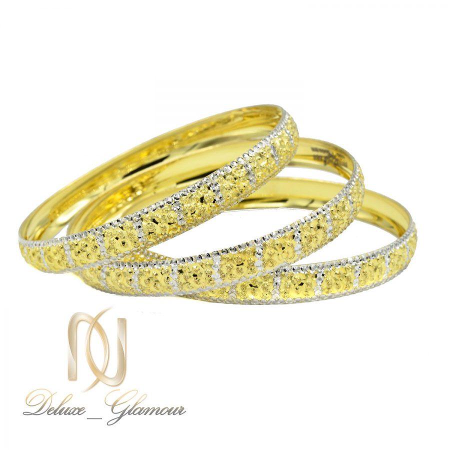 النگو نقره زنانه طرح طلا تراش جدید al-n128 از نمای سفید