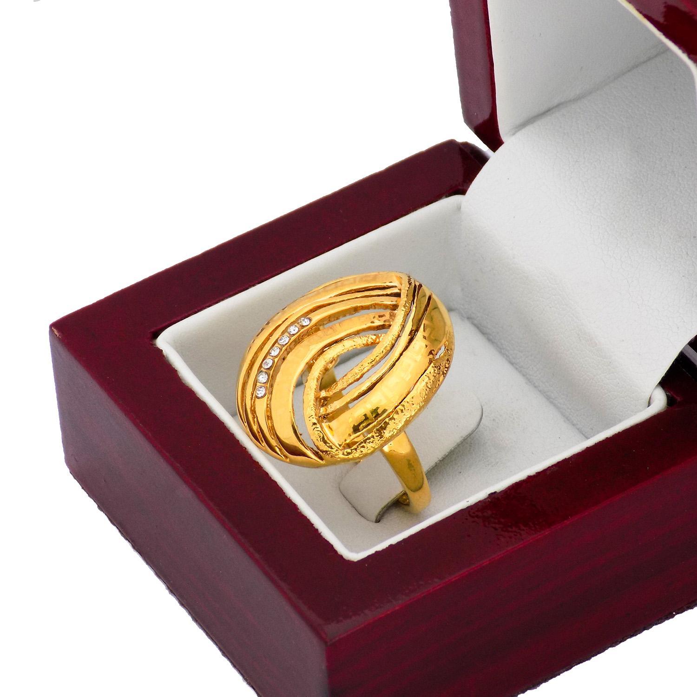 انگشتر استیل زنانه طرح طلای بزرگ rg-n382 از نمای بالا