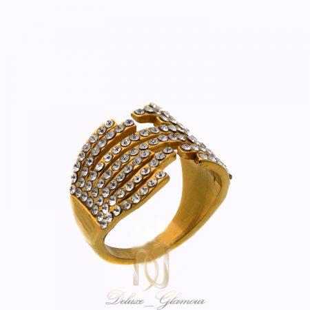 انگشتر استیل زنانه طرح طلا پرنگین rg-n396 از نمای سفید