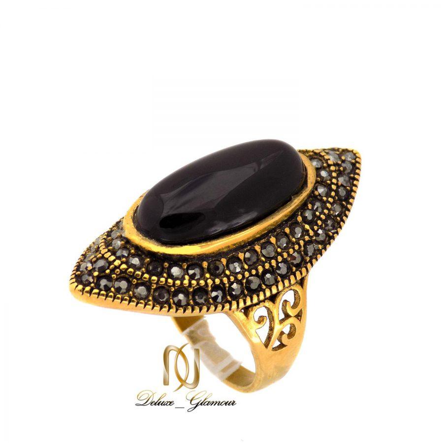 انگشتر زنانه استیل نگین دار طرح طلا روس rg-n380 از نمای سفید