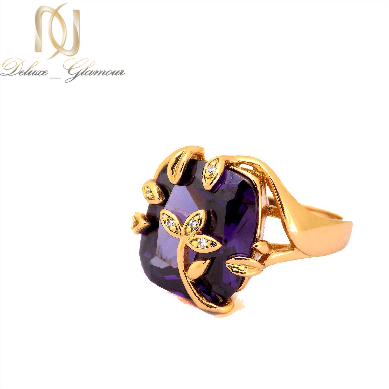 انگشتر زنانه ژوپینگ طلایی نگین بنفش rg-n379