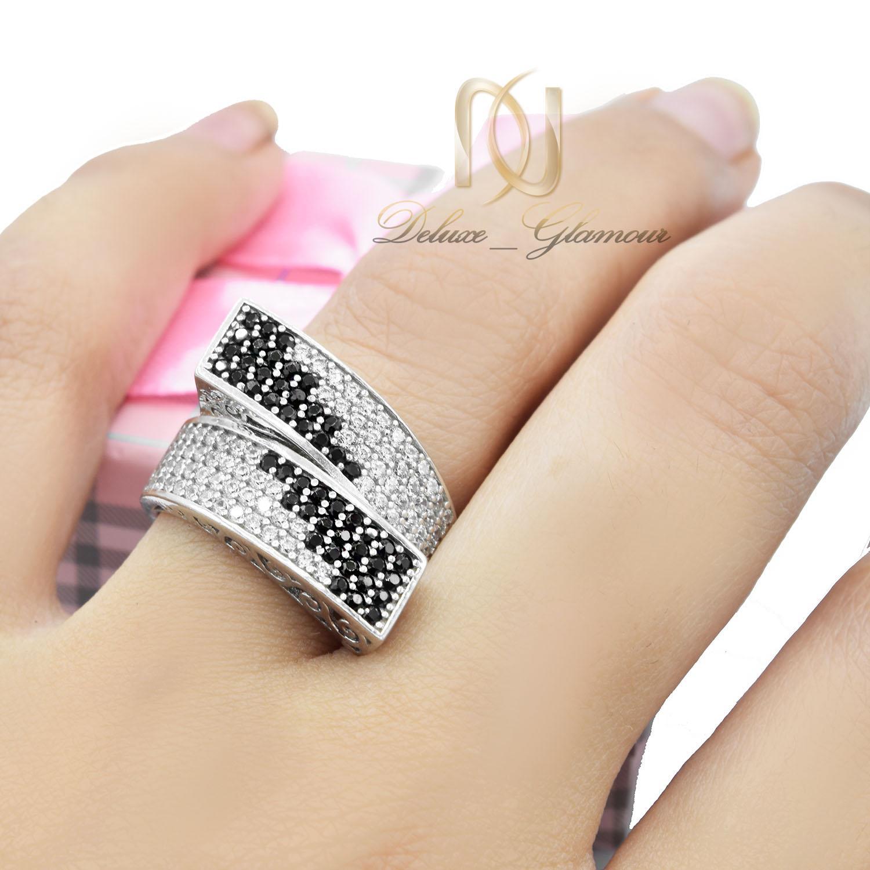انگشتر طرح چپ و راستی نقره زنانه Rg-n350 - عکس روی دست