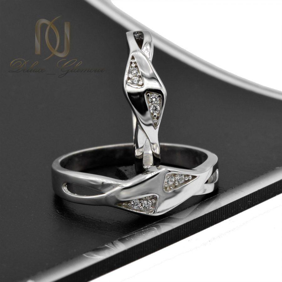 حلقه ست نقره ازدواج طرح جدید نگین دار rg-n393 از نمای مشکی