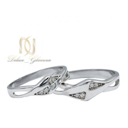 حلقه ست نقره ازدواج طرح جدید نگین دار rg-n393 از نمای سفید