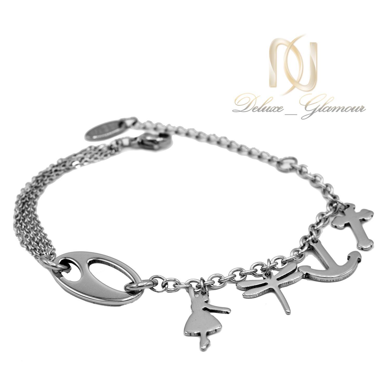 دستبند آویزدار زنانه استیل فشن ds-n487 از نمای سفید