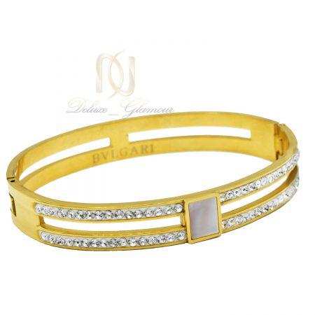 دستبند زنانه استیل طرح بولگاری طلایی ds-n482 از نمای سفید