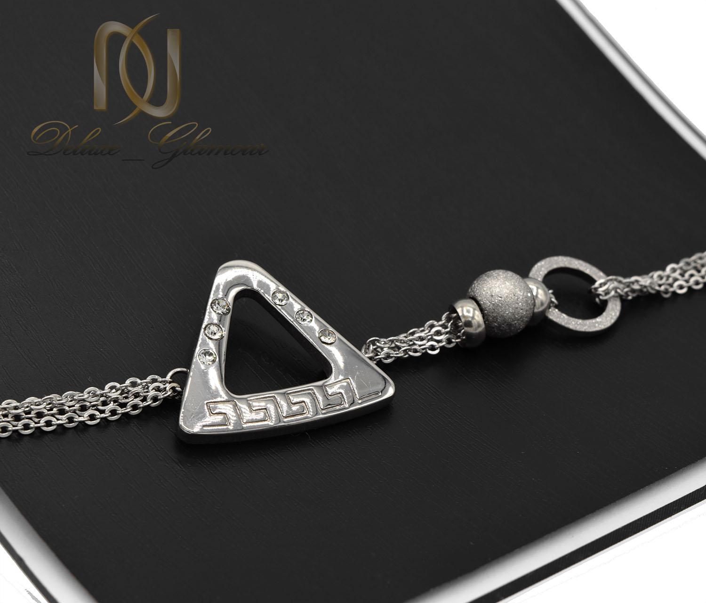 دستبند زنانه استیل طرح مثلثی جدید DS-N486 از نمای مشکی
