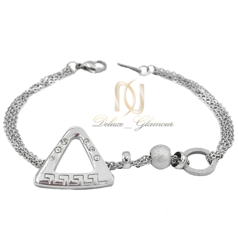 دستبند زنانه استیل طرح مثلثی جدید DS-N486 از نمای سفید