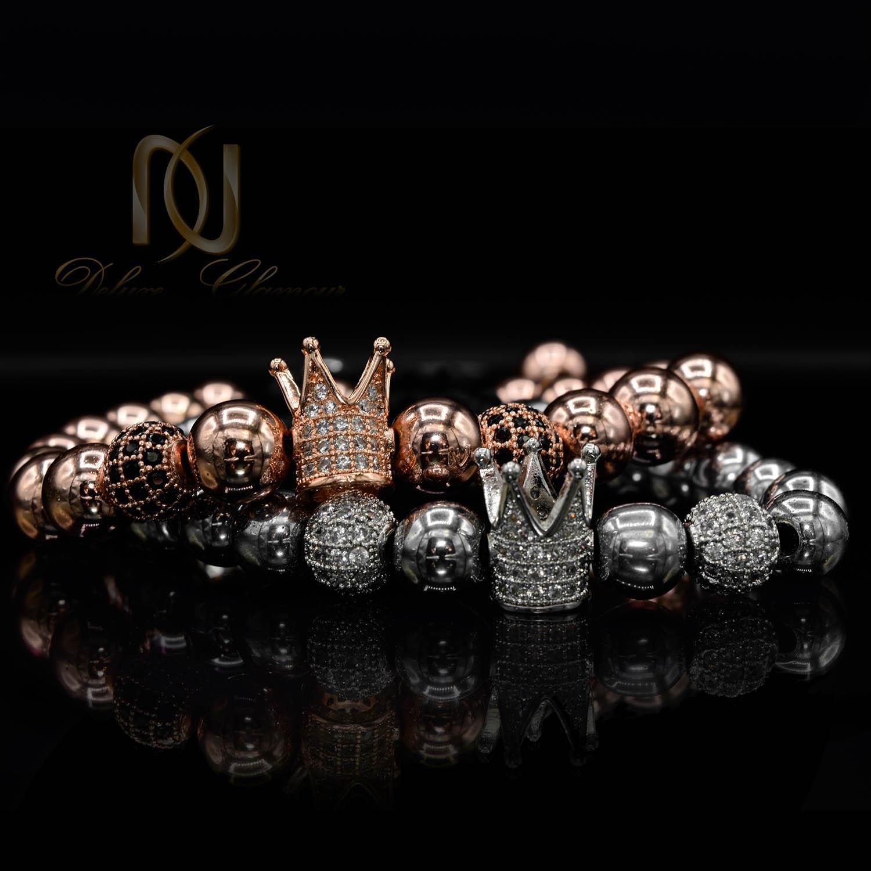 دستبند ست عاشقانه طرح کینگ و کویین ds-n480 از نمای مشکی