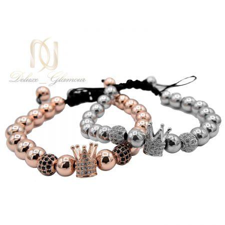 دستبند ست عاشقانه طرح کینگ و کویین ds-n480 از نمای سفید