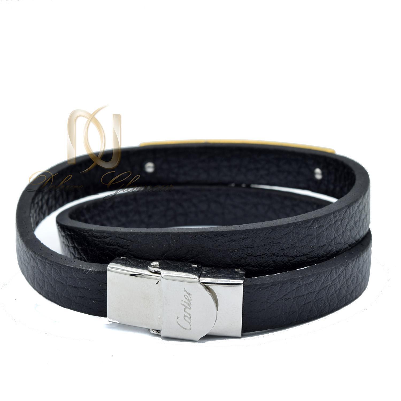 دستبند مردانه چرمی اسپرت دو ردیفه مشکی ds-n478 از نمای پشت