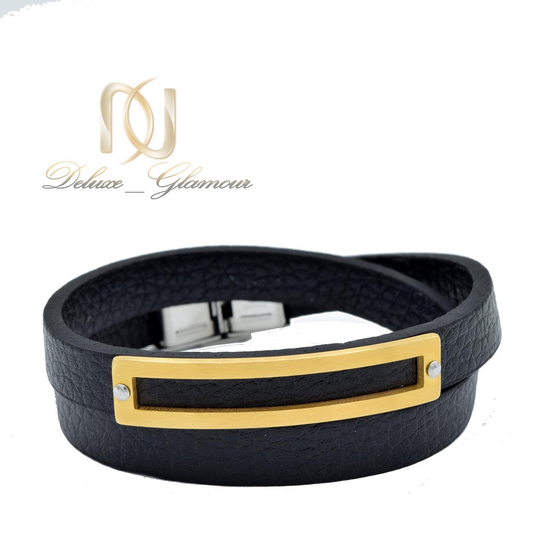 دستبند مردانه چرمی اسپرت دو ردیفه مشکی ds-n478 از نمای روبرو