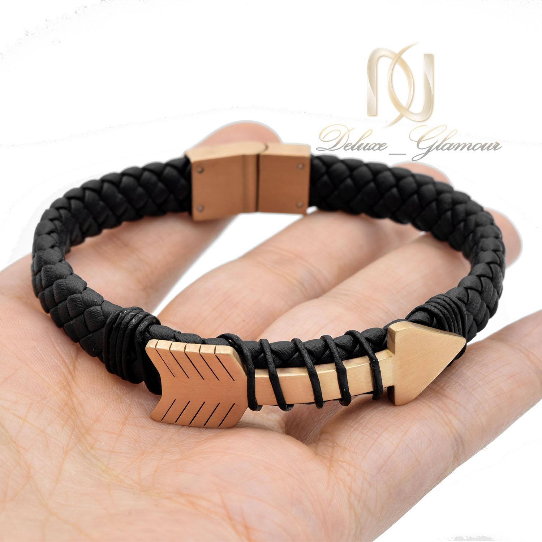 دستبند مردانه چرمی طرح رولکس ds-n483 از نمای نزدیک