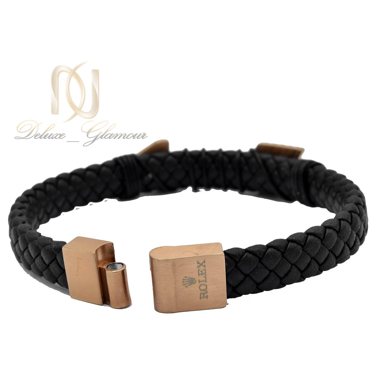 دستبند مردانه چرمی طرح رولکس ds-n483 از نمای پشت