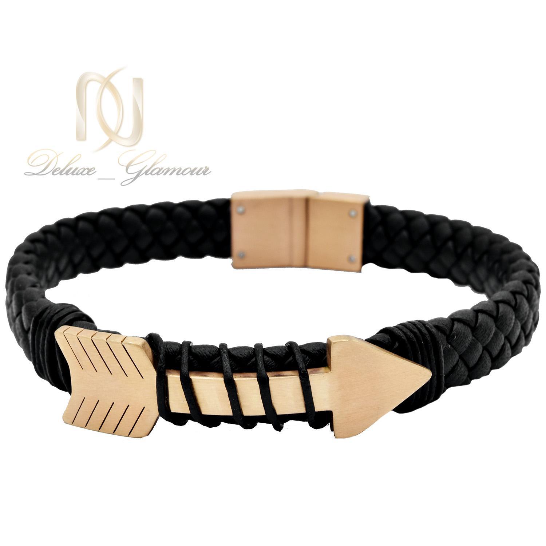 دستبند مردانه چرمی طرح رولکس ds-n483 از نمای سفید