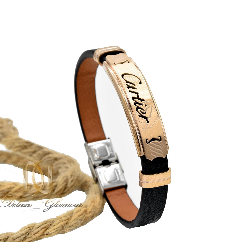 دستبند مردانه چرم طرح کارتیه رویه استیل ds-n488 از نمای روبرو