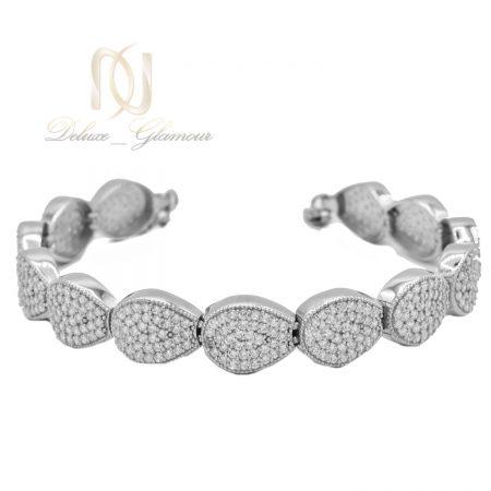 دستبند نقره زنانه طرح اشک نگین دار ds-n475 از نمای سفید