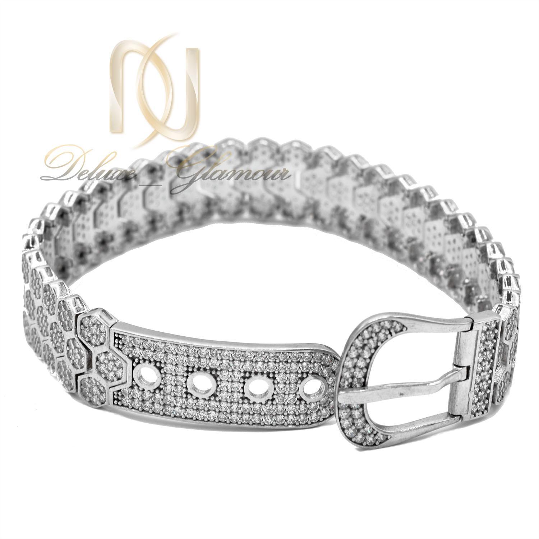 دستبند نقره زنانه طرح بند ساعتی نگیندار ds-n476 از نمای پشت