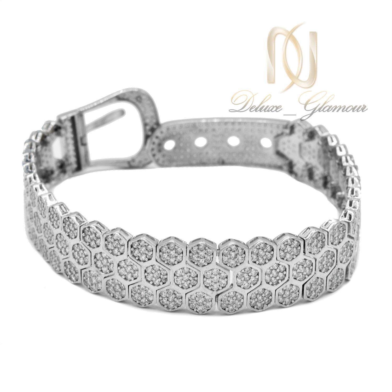 دستبند نقره زنانه طرح بند ساعتی نگیندار ds-n476 از نمای روبرو
