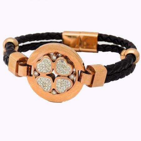 دستبند چرم دخترانه اسپرت طرح قلب DS-N477 از نمای روبرو