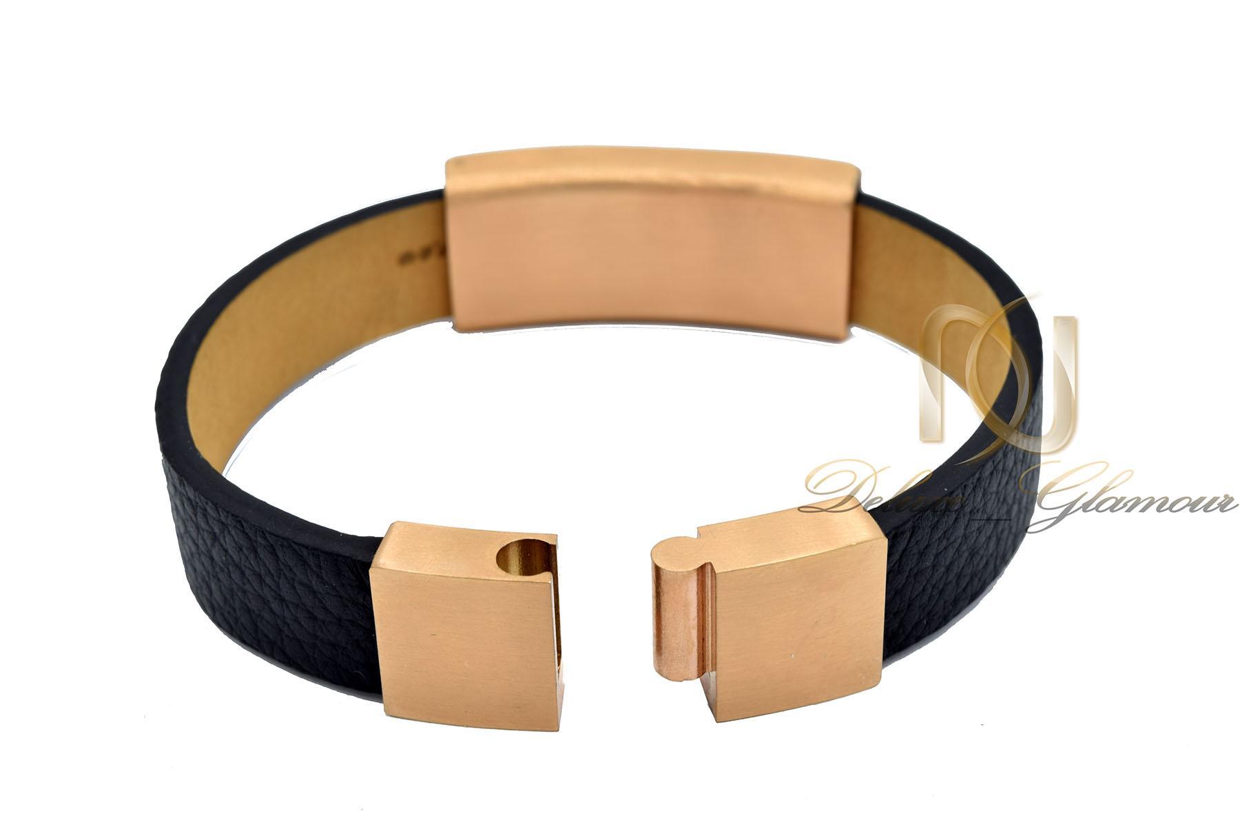دستبند چرم زنانه اسپرت مشکی شیک DS-N479 از نمای پشت