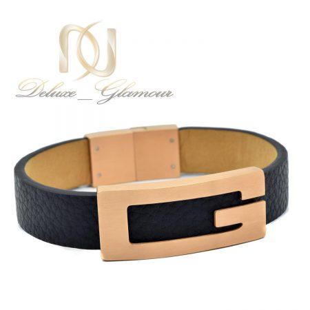 دستبند چرم زنانه اسپرت مشکی شیک DS-N479 از نمای سفید