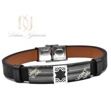 دستبند چرم مردانه montblanc مشکی ds-n489 از نمای سفید