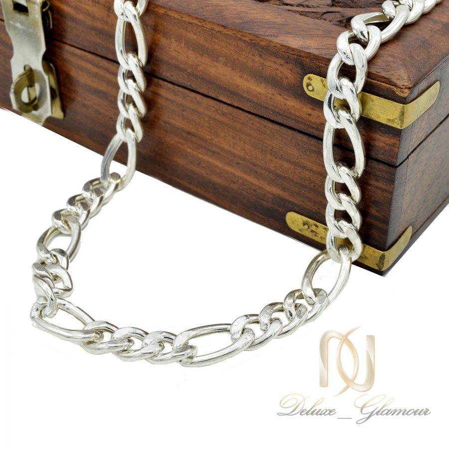 زنجیر نقره مردانه طرح لوفیگارو 70 سانتی nw-n504 از نمای روبرو